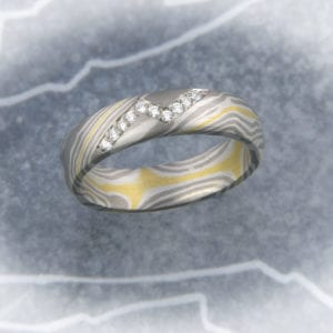 Mokume Gane Ring Brillantblitz