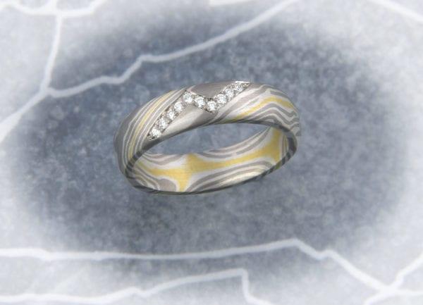 Mokume Gane Ring Brillantblitz
