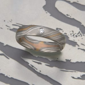 Mokume Gane Ring mit Brillant 0,03ct