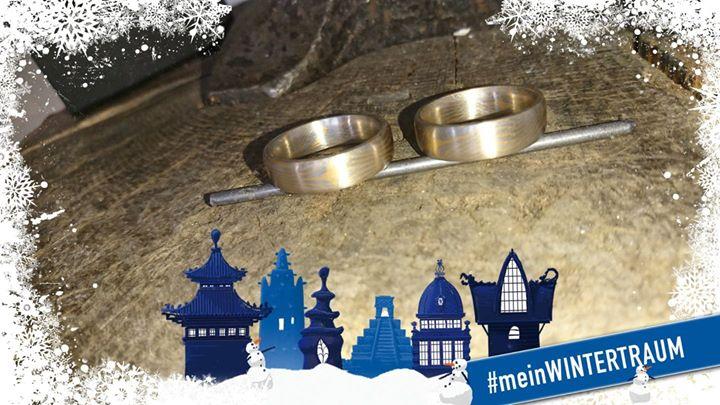 Mokume Gane Ringe in Platin und Gelbgold gibt es heute im Adventskalender.