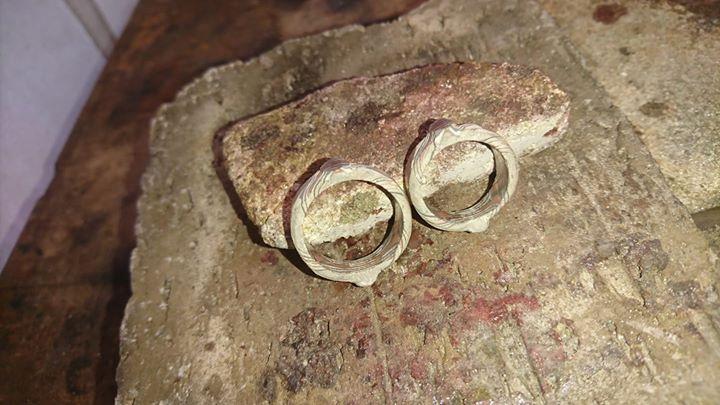 Neue Mokume Gane Ringe in Arbeit mit vier Sterne Innen. Rotgold 917, Palladium 375 und Schneesilber 960.