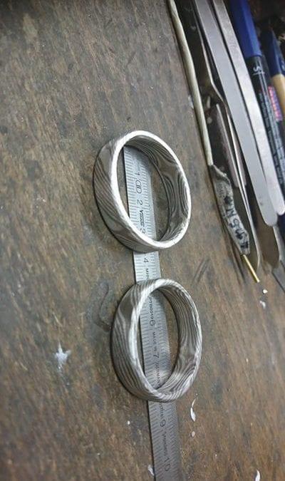 Arbeite gerade an einem fettem Projekt, Mokume Gane Ringe mit 10 mm Ringbreite.