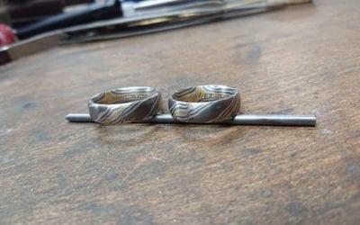 Diese schönen Mokume Gane Ringe sind soeben in meiner Goldschmiede abgeholt worden. Mehr Informationen unter :